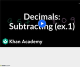 Arithmetic Operations: Subtracting Decimals Example 1