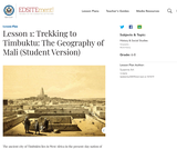 Lesson 1: Trekking to Timbuktu: The Geography of Mali (Student Version)
