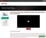 Your Summer Bucket List Webinar Series: Remote Options for Summer Fun